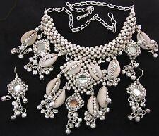 Necklace Choker Earrings Mirror Cowrie Sea Shell Gypsy Ethnic Tribal Belly Dance