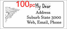 100 Personalised return address label adhesive mailing sticker 56x25mm half face