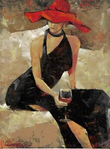 original painting 30 x 40 cm 1OE art samovar Modern oil woman in hat with wine