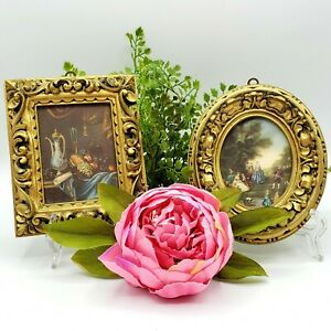 VINTAGE ART MADE IN ITALY 2 FRAMED Miniature Renaissance Style 70s Luxe Vignette