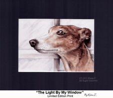Greyhound Brindle The Light By My Window Signed Art Print Artist Kevin Z Arttogo