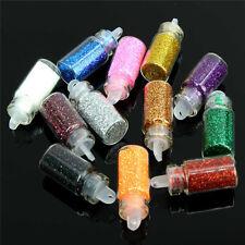 12 Colores Brillo Decoración para Arte de Uñas en Polvo Polvo Botella Set Manicura Pedicura Herramienta