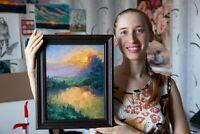Majestic Sunset - Framed ORIGINAL by M. Sacke, Landscape Painting, Oil on Board