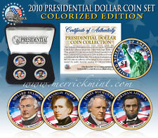 2010 USA MINT COLORIZED PRESIDENTIAL $1 DOLLAR 4 Coin Set Gift Box Certified