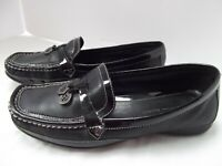 etienne Aigner blk patent leather loafer shoe 9.5M Wren silver contrast stitch