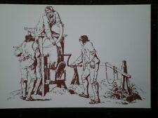 POSTCARD SOCIAL HISTORY RURAL INDUSTRY IN 19TH CENTURY - MEN GRINDING A SCYTHE