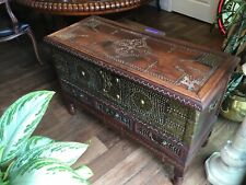 Antique Rosewood Chest With All Over Brass Design Lift Top W/3 Drawers. 1800's