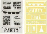 BIRTHDAY - JILLIBEAN Clear Rubber Stamp & Stencil Set for Scrapbook Stamping