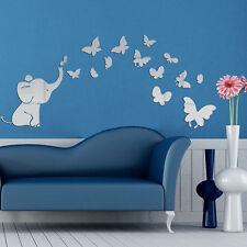 3D DIY Elephant Butterflies Mirror Wall Decal Wall Clock Sticker Art Decor New