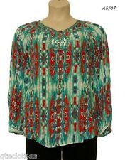 JONES NEW YORK $109 Sexy Bead Embellished Long Sleeves Printed Blouse Top M QCO