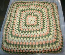 "Vintage ~Handmade ~Crochet Cushion ~Circa 1960's/70's ~15"" x 15"" ~VGC (SS06)"