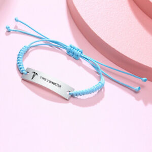 Blue Medical Alert Rope String Cord Women Baby Kid Bracelet Personalzied Engrave