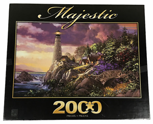 "2010 Majestic Coastline Watch 2000 Piece Jigsaw Puzzle Lighthouse 39"" x 27"" NUC"