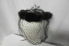 Vintage 1950's Mink Fur Circle Fascinator w/Black Velvet Netting Hat