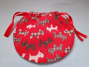 Handmade Fabric Drawstring Pouch/ Re-usable gift bag/ storage - Red Scottie Dog