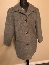 Vintage J & H Fashions 1960's? Houndstooth Wool lined Peacoat Women's M Coat