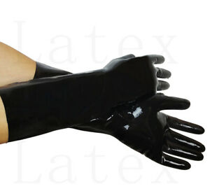 Cheap 100% Latex Black but elbow over the wrist gloves S-XL 0.4mm