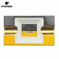 COHIBA Ceramic Cigar Ashtray 2 Cigar U-Style Protable Stand Holder w/ Gift Box
