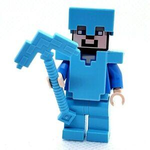 LEGO Minifigure Steve Medium Azure Diamond Helmet and Armor min015 Minecraft