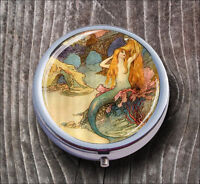 MERMAID ART PAINT VINTAGE PILL BOX ROUND METAL - kma2Z