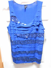 RELATIVITY ROYAL BLUE TANK STYLE TOP WITH SEQUINS RUFFLES SZ 2X NWT