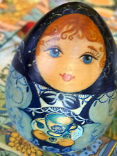Russian hand painted wooden egg/doll *SIMPLY LOVELY*