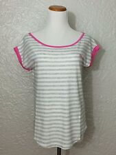 Gilly Hicks by Abercrombie Women's Contrast Color Striped Tee, Gray/Pink, XS