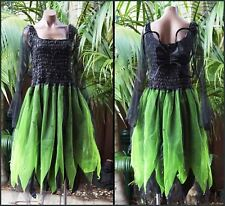 Women's Fairy Dress Costume with Sleeves & Wings - Black/Neon