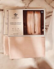 "Shabby Chic- Light Filtering Rod Pocket Pink Pleat Curtain Panel 54"" x 84"" Lt x2"