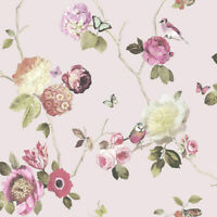 Arthouse Opera Charmed Blush Pink Birds Trees Floral Nature Wallpaper 889802