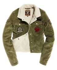 Superdry Cord Girlfriend Borg Jacket Black Hawk Khaki Size 12 New W/Tag