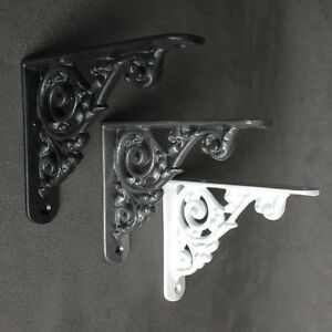 "5"" x 4"" ANTIQUE CAST IRON VICTORIAN SHELF WALL BRACKET BLACK WHITE PEWTER - BR26"