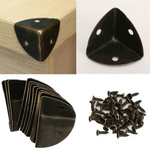12pcs Antique Wooden Box Leg Desk Corner Protector Iron Bronze with Screw