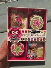 FineLife Cupcake Decoration Set 24 Cupcake Holders & 24 Cupcake Picks Owl