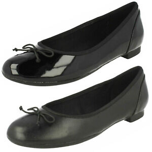 Ladies Clarks 'Couture Bloom' Black Slip On Ballerina Style Shoes D & E Fitting