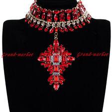 Fashion Jewelry Chain Glass Crystal Chunky Choker Statement Pendant Bib Necklace