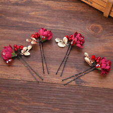 Red Flower Hair Pin Wedding Bride Party Hair Accessory Hairpin Jewelry Hair Clip