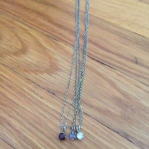 Womens Girls Cluster Bundle Of Gemstone Crystal Single Necklaces