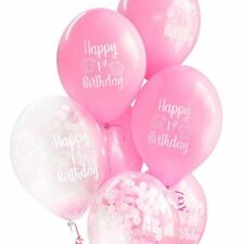 10 x Happy 1st Birthday Pink Baby Girl Balloons FREE RIBBON