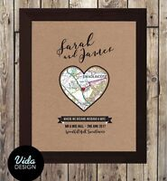 Wedding day gift / personalised a4 print / framed option / map print /