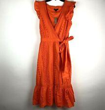 J.Crew Womens Size 6 All Over Eyelet Wrap Midi Dress 100% Cotton Orange NWT $138