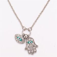 Fatima Hamsa Hand Turkey Blue Evil Eye Necklace Charm Pendant Jewish Jewelry BLC