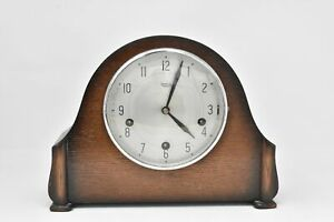 Smiths Enfield Mantel Clock 1950s Striking Chime Wooden Case Vintage with Key