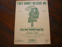 """VINTAGE SHEET/ SONG MUSIC: """"They Didn't Believe Me"""" Music by Jerome Kern. MGM"""
