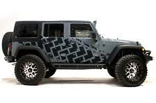 Custom Vinyl Graphics Decal TIRE TRACKS Wrap Kit Jeep Wrangler 4D 2007-16 BLACK