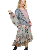 UMGEE Kimono Cardigan Duster Open Front Boho Print Bell Sleeve Long Maxi Jacket