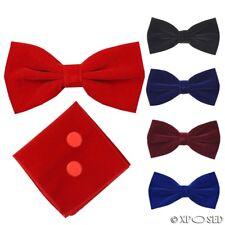 Mens Velvet Adjustable Bowtie Cufflink Hankie Set Wedding Party Smart Neck Tie