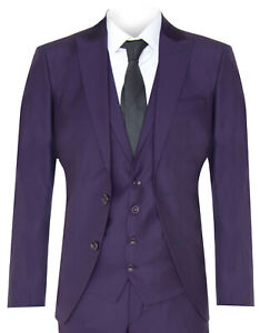 New Mens 3 Piece Suit Plain Purple Classic Tailored Fit Smart Casual 1920 Formal