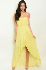 Misses Yellow High Low Maxi Dress Size Large Strapless Ruffled New