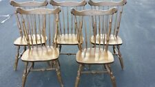 Vintage Set of 5 Nichols & Stone Windsor Fiddle Back Side Chairs Solid Maple